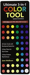 Ultimate 3-in-1 Color Tool: — 24 Color Cards with Numbered Swatches — 5 Color Plans for each Color — 2 Value Finders Red & Green